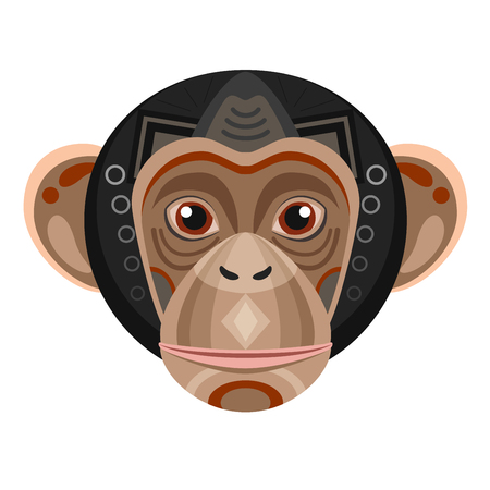 Chimpanzee Head Logo. Monkey Vector decorative Emblem.