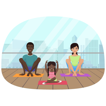 Vector illustration of the multi-ethnic family meditating in fitness room on the city background. Illustration