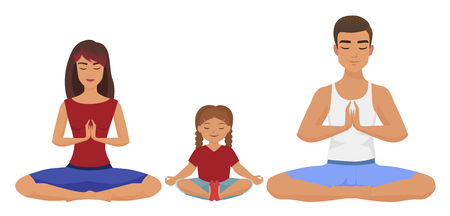 Young white family Yoga vector illustration. Lotus position isolated.