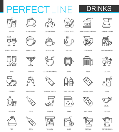 ice tea: Drinks thin line web icons set. Drink Outline stroke icon design.