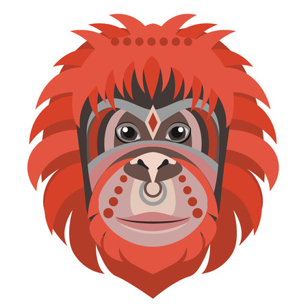Orangutan head Logo. Monkey Vector decorative emblem illustration.