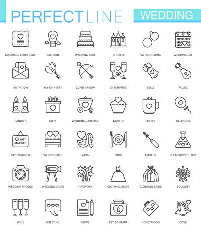 envelope: Wedding thin line web icons set. Outline icon design. Illustration