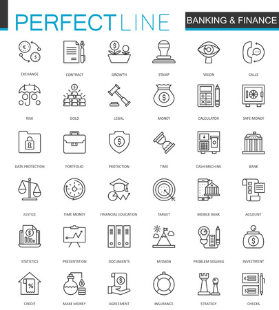 Finance and Banking thin line web icons set. Outline stroke icon design.