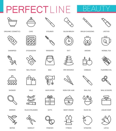 hair mask: Spa Beauty and cosmetic thin line web icons set. Outline stroke icon design.