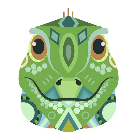 Iguana Head Logo. Lizard Vector decorative Emblem.