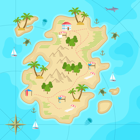 Cartoon tropical island in ocean. Top view exotic island map. Vector game design for app.
