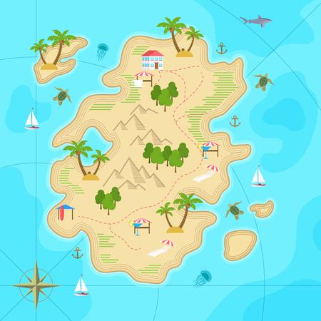 Cartoon tropical island in ocean. Top view exotic island map. Vector game design for app.