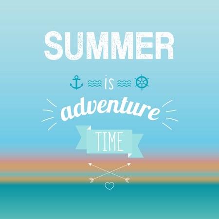 Vector illustration of summer is adventure time text on the turquoise background. Exotic banner, poster, flyer, card, postcard, cover brochure Vector illustration. Illustration