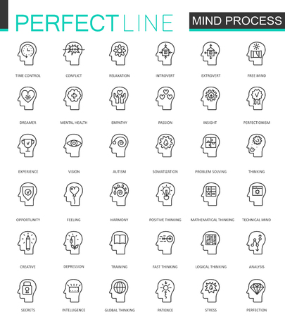 personality development: Human mind identity features thin line web icons set. Outline stroke icon design. Illustration