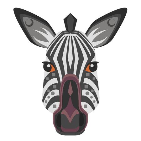 zebra skin: Zebra Head Logo. Vector decorative Emblem. Illustration