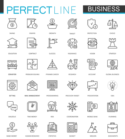 Business thin line web icons set. Outline stroke icon design.
