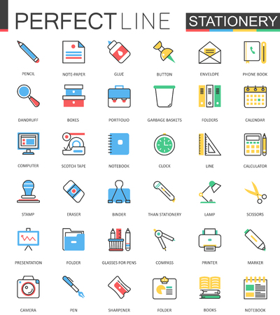 Office stationery. Modern flat line design vector icons. Vettoriali