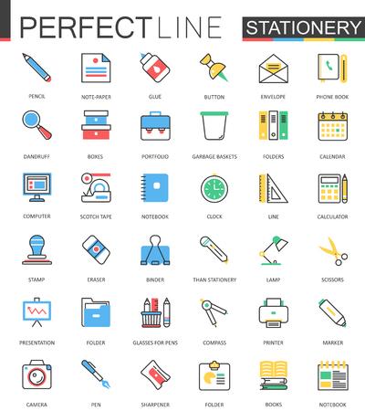 Office stationery. Modern flat line design vector icons. Stock Illustratie