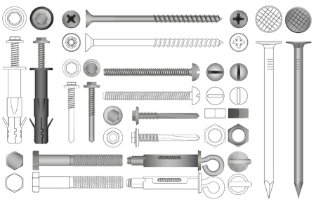 Vector set of realistic and line nuts, bolts, screws and rivets. Illustration