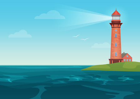 Lighthouse on on the little island cartoon landscape. Beacon in ocean for navigation vector illustration.