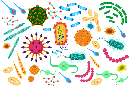 Cartoon style, colored virus bacteria icons set.