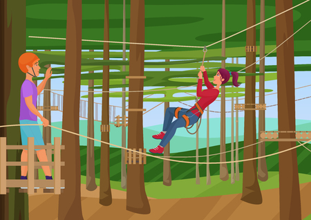 hiking: Vector illustration of the people training hiking on the ropes between trees. Rope park. Illustration