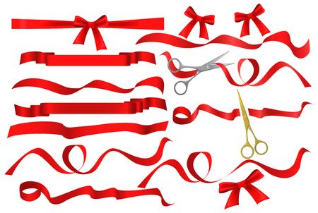 Metal chrome and golden scissors cutting red silk ribbon. Ilustração