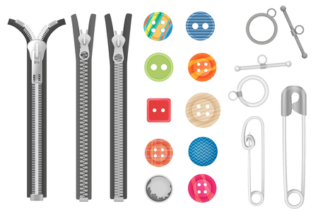 Steel metal zipper and objects for sewing, handicraft collection. Realistic buttons and zippers set.