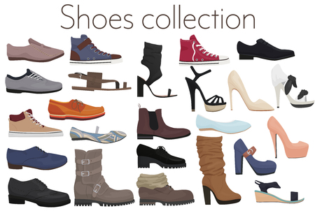 Vector trendy collection of mens and womens shoes fashion footwear.