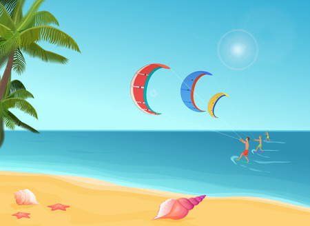 kite surf: People with parachutes kiteboarding in sea.