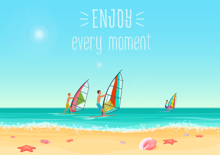 Vector illustration of three people windsurfing in the sea with enjoy every moment words. Illustration