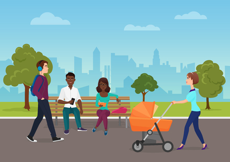 Different people are on their daily goings in the park vector illustration. People walking in city park.