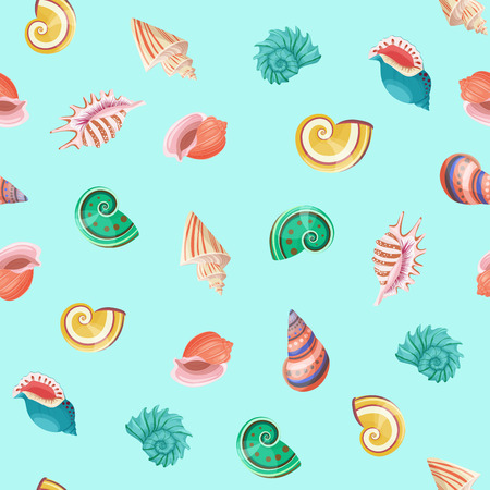 Seashells seamless vector pattern. Illustration