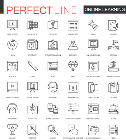 Online education thin line web icons set. Knowledge Outline stroke icons design.