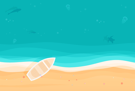 From above summer holiday background with boat on the tropical island sandy beach. Top view vector illustration. Иллюстрация