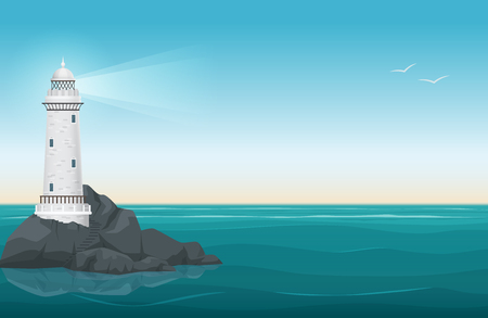 Lighthouse on rock stones island landscape. Navigation Beacon building in ocean. Vector illustration.