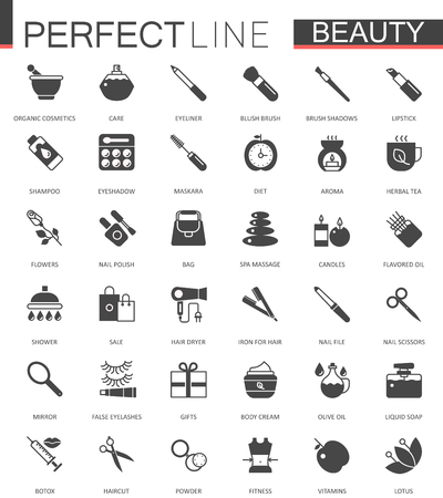 hair mask: Black classic web icons set. Beauty and cosmetics. Body skin care.