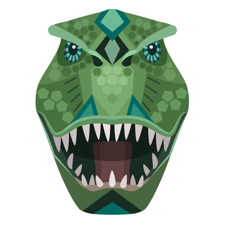 Boos t-rex raptor head-logo. Vector decoratief embleem. Stock Illustratie