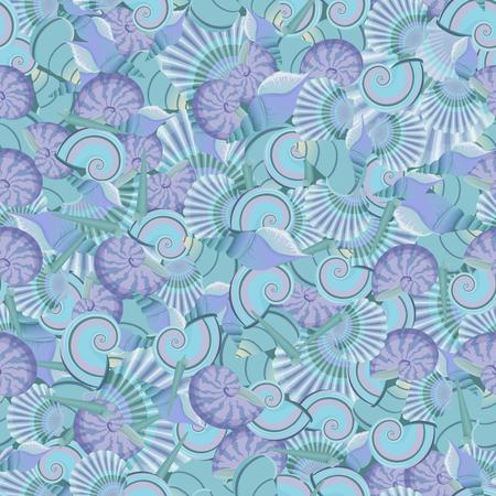 Vector seamless sea shells pattern.