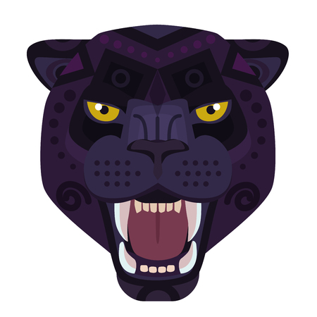 Angry black panther head Logo. Wild cat vector decorative Emblem.
