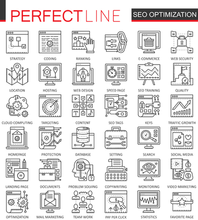 mobile apps: SEO Search Engine Optimization outline concept symbols. Perfect thin line icons. Modern stroke linear style illustrations set.