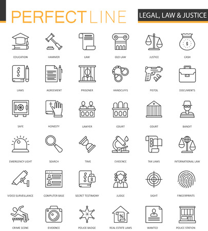 Black classic web Law and justice icons set. Vettoriali