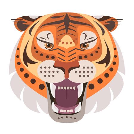 怒っているタイガー ヘッドのロゴ。ベクター装飾的なエンブレム。