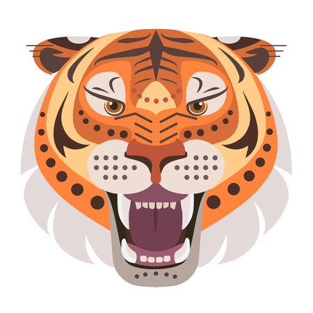 Angry tiger head Logo. Vector decorative Emblem. Ilustrace