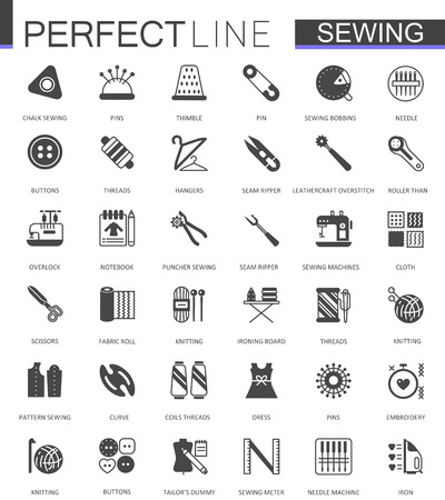Black classic sewing needlework web icons set.