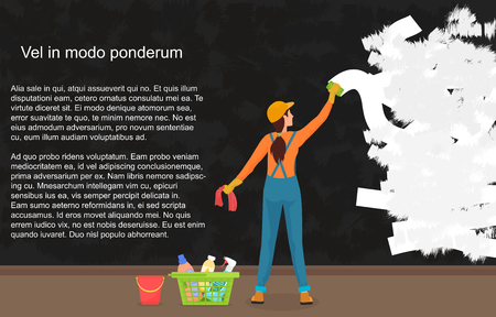plating: A cartoon woman cleaner wipes away a dark dirty wall. Painting a color wall. Website reconstruction.