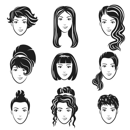 A Vector set of women avatar hairstyles stylized logo set. Female hair style icons emblem.