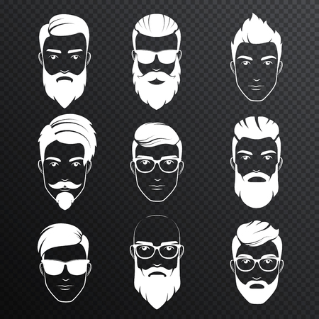 Set of vector bearded hipster men faces on the transperant alpha background. White color haircuts, beards, mustaches set. Handsome man emblems icons. Ilustração
