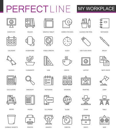 event planning: Office workspace thin line web icons set. Outline stroke icons design.