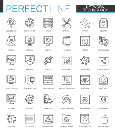 Network technology thin line web icons set. Big data outline stroke icons design.