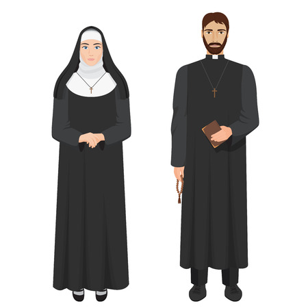 Catholic priest and nun. Realistic vector illustration.