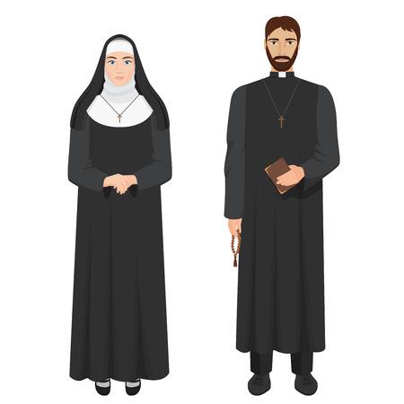 Katholieke priester en non. Realistische vector illustratie.