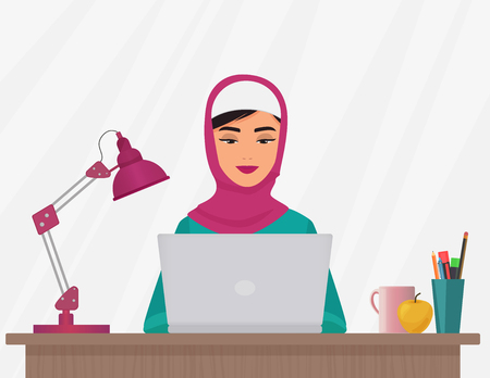 Muslim business pretty woman in traditional clothing working on laptop, arabian female Vector illustration.
