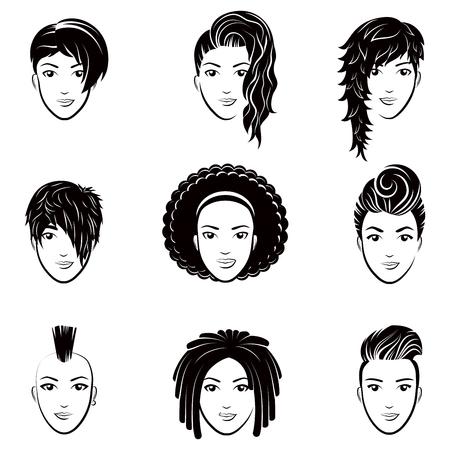 美しい女性のヘアスタイルと様式化されたロゴのベクターを設定します。ファッションおしゃれなヘアスタイルのスタイリッシュなコレクションです。