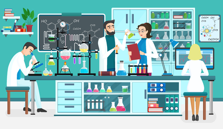 Laboratory people assistants working in scientific medical biological lab, chemical experiments Cartoon vector illustration. Illustration